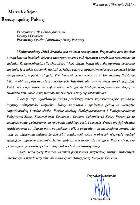 Życzenia Elżbiety Witek Marszałek Sejmu Rzeczypospolitej Polskiej z okazji Dnia Strażaka 2021