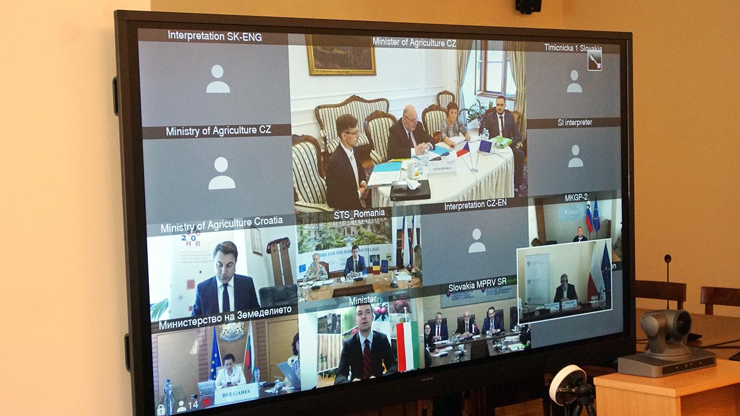 Wideokonferencja ministrów państw Grupy Wyszehradzkiej oraz Bułgarii, Rumunii, Słowenii i Chorwacji