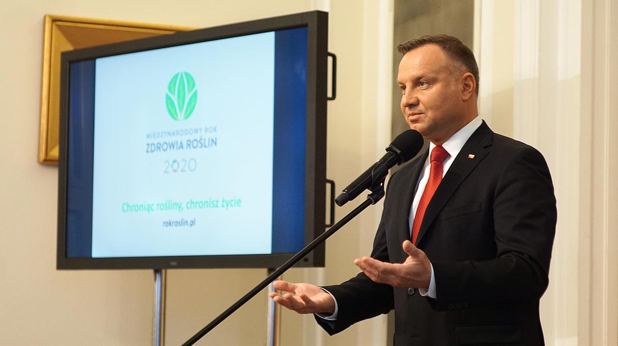 Prezydent Andrzej Duda podczas wystąpienia