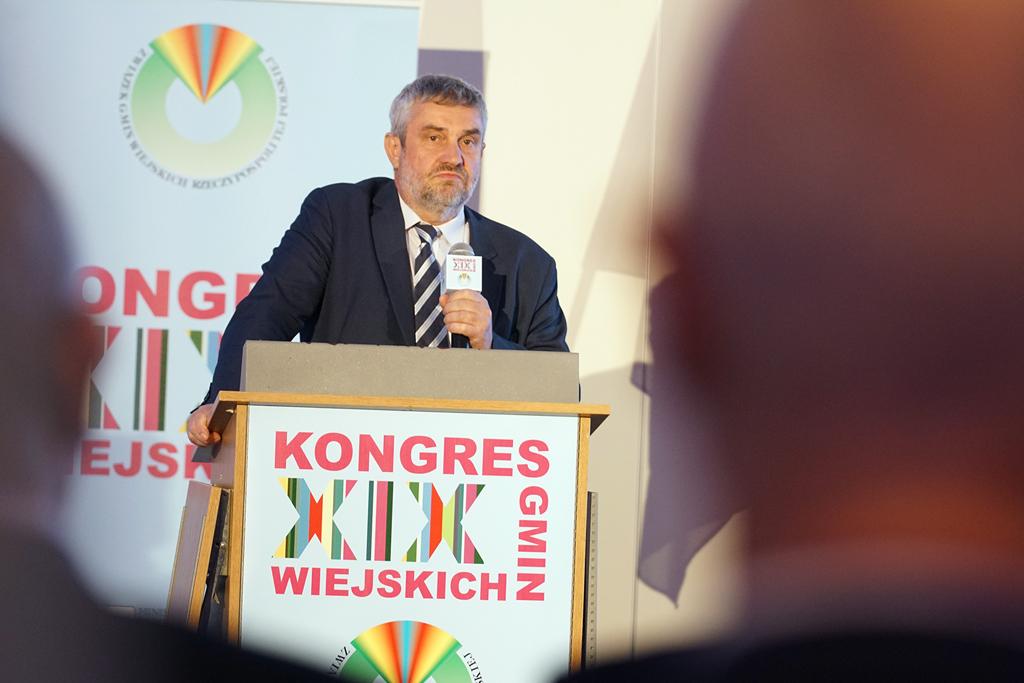 Minister J.K. Ardanowski podczas wystąpienia na Kongresie Gmin Wiejskich
