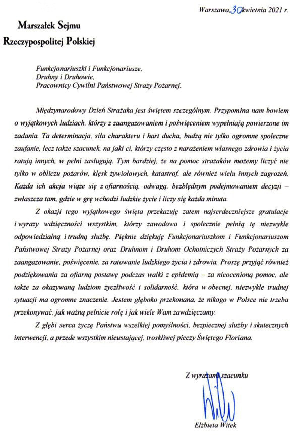 Życzenia Marszałka Sejmu RP