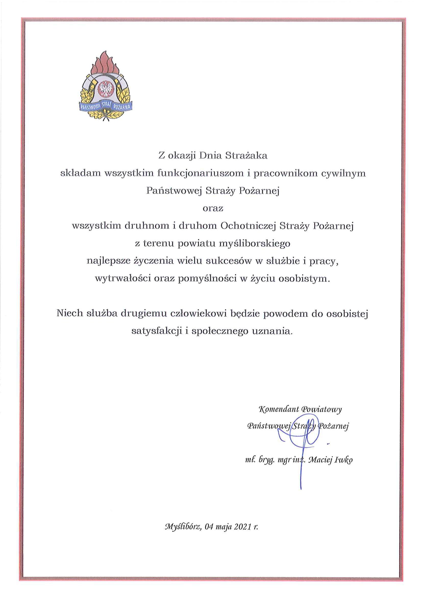 Życzenia Komendanta Powiatowego PSP