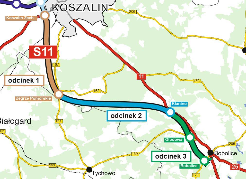 Mapa S11 Koszalin - Bobolice z podziałem na trzy odcinki realizacyjne