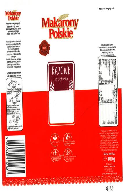 Makaron razowy Makarony Polskie spaghetti 400 g