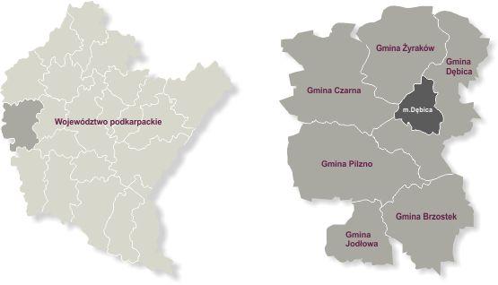 mapa województwa podkarpackiego i powiatu dębickiego