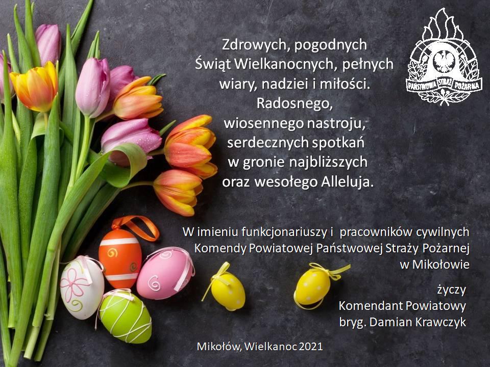 Życzenia Komendanta Powiatowego PSP w Mikołowie