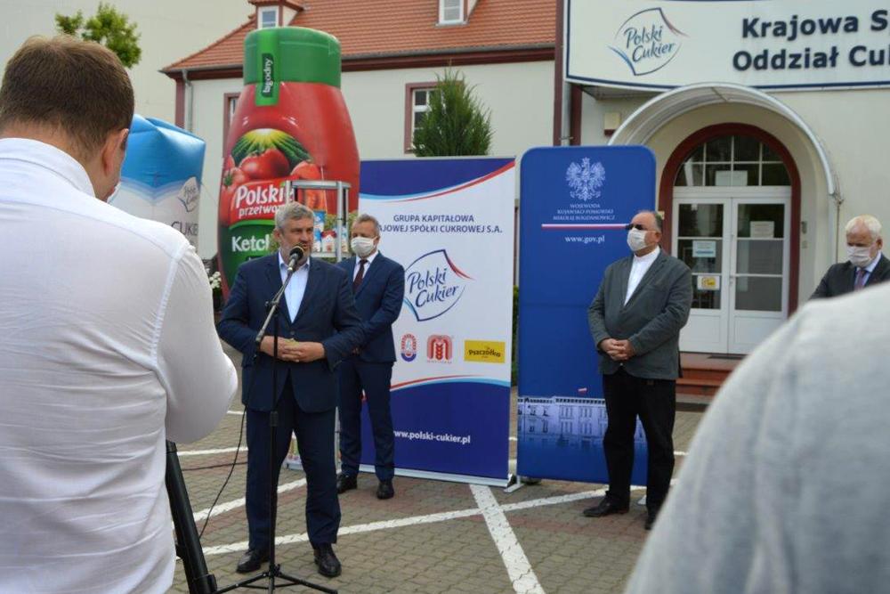 Minister J.K. Ardanowski podczas wizyty w Cukrowni Kruszwica