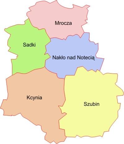 Mapa powiatu nakielskiego