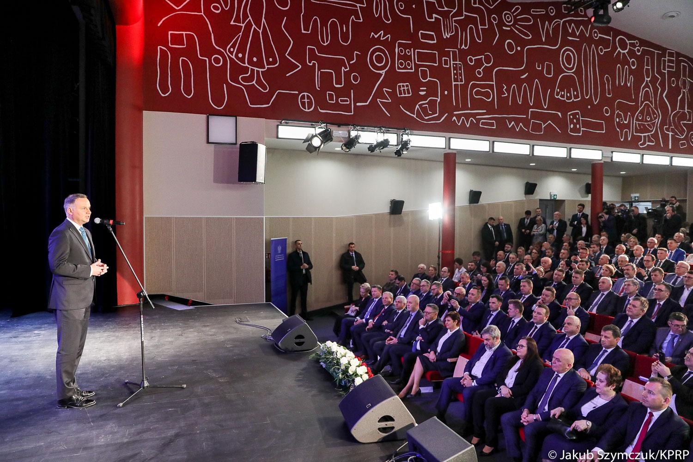 Wystąpienie Prezydenta RP Andrzeja Dudy na konferencji w Kolnie