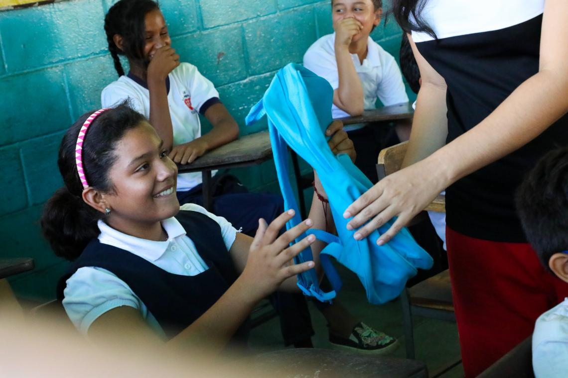 Valeria receives a gift - a backpack