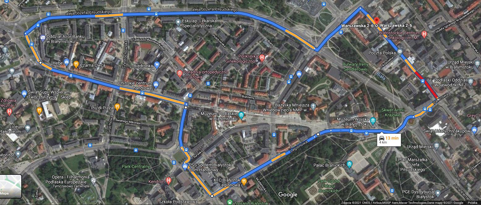 Mapa przejazdu kolumny pojazdów pożarniczych