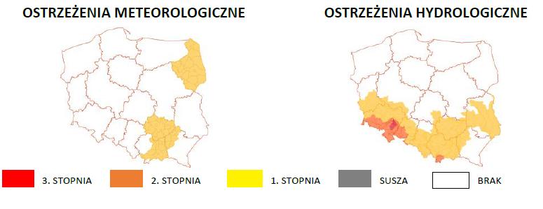 Ostrzeżenia meteorologiczne i hydrologiczne z podziałem na województwa 14 maja