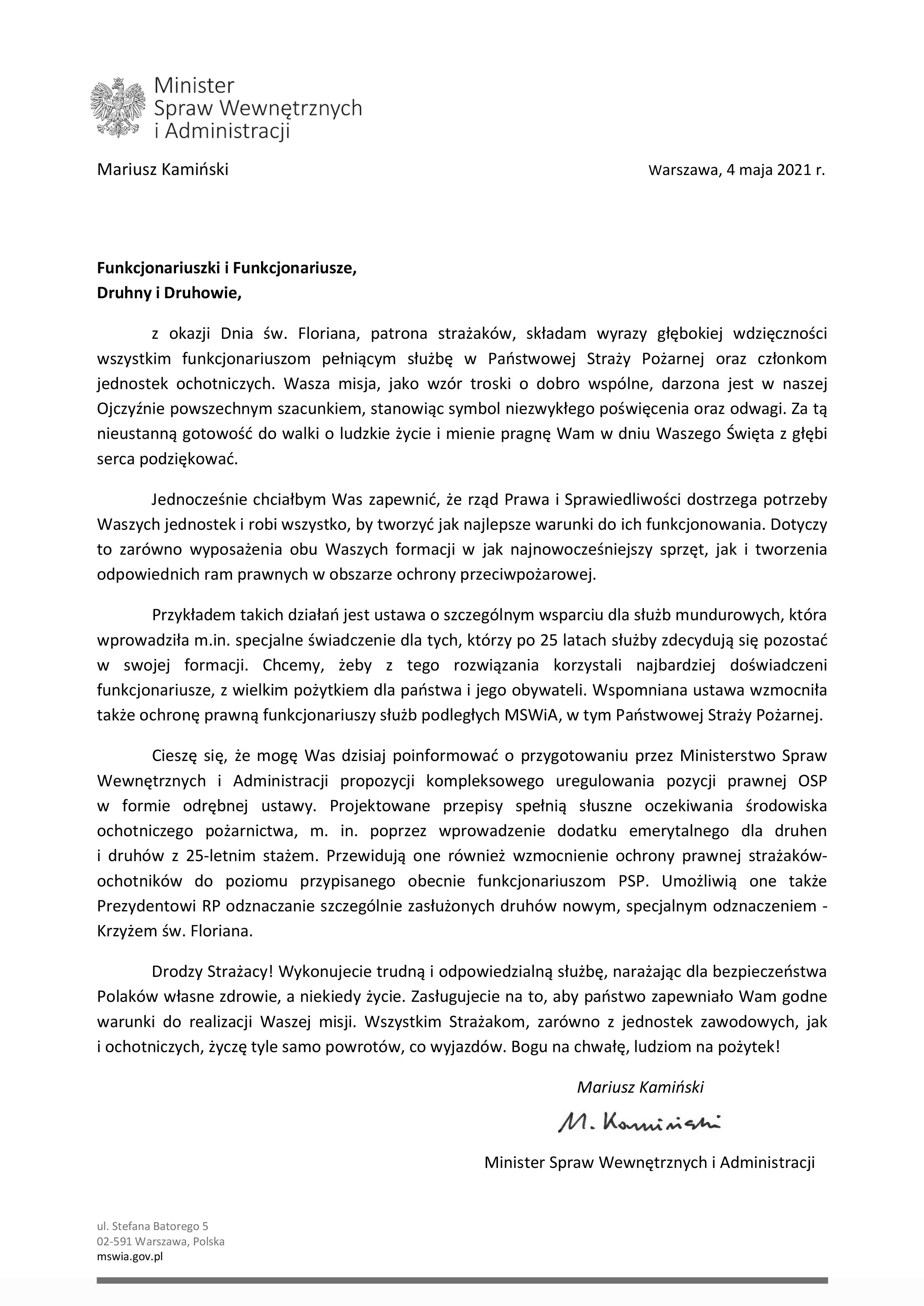 Zdjęcie zawiera treść życzeń Ministra Spraw Wewnętrznych i Administracji z okazji Dnia Strażaka. na dole podpis Ministra Spraw Wewnętrznych i Administracji Mariusza Kamińskiego.