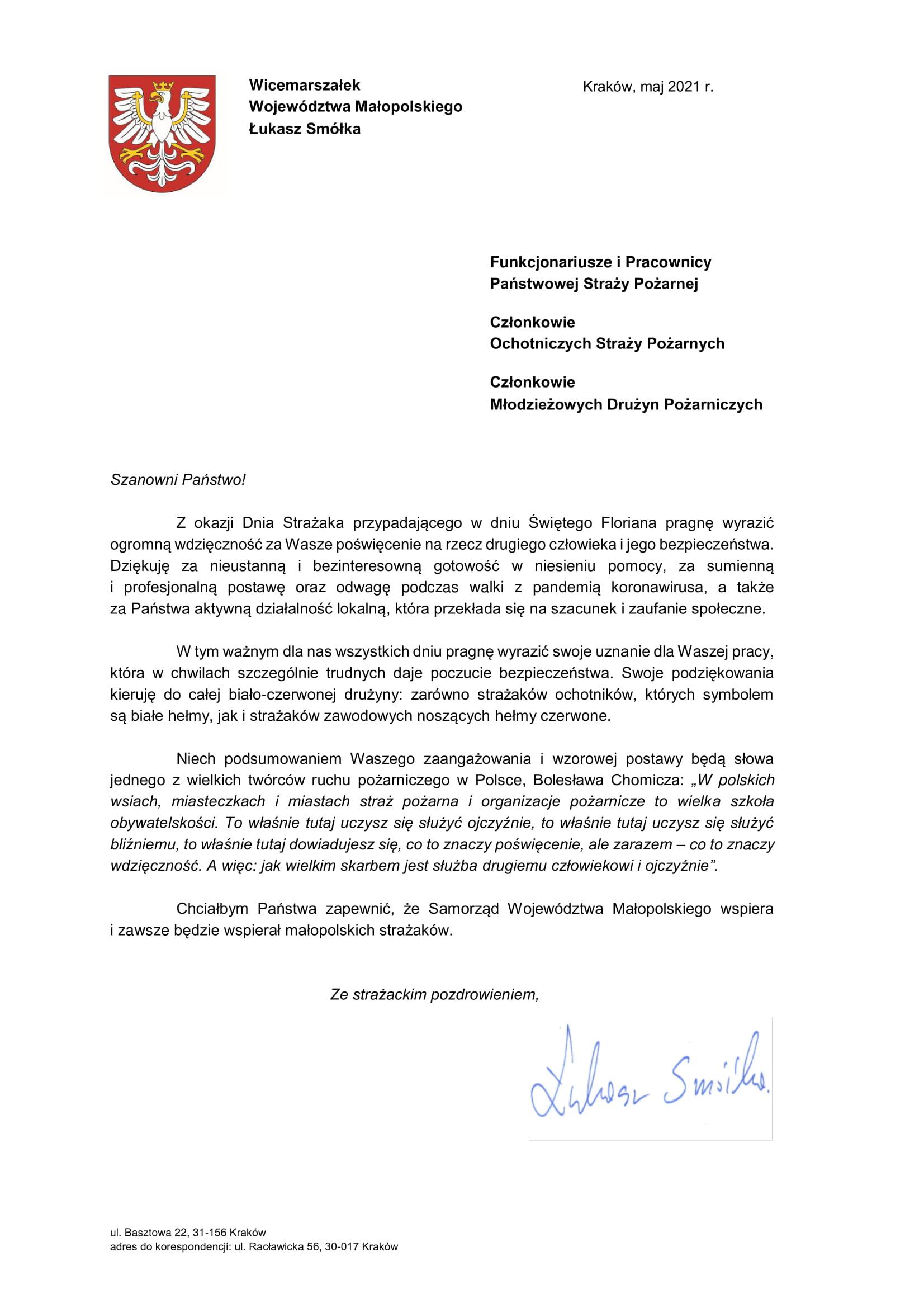 Życzenia Wicemarszałka Województwa Małopolskiego z okazji Dnia Strażaka