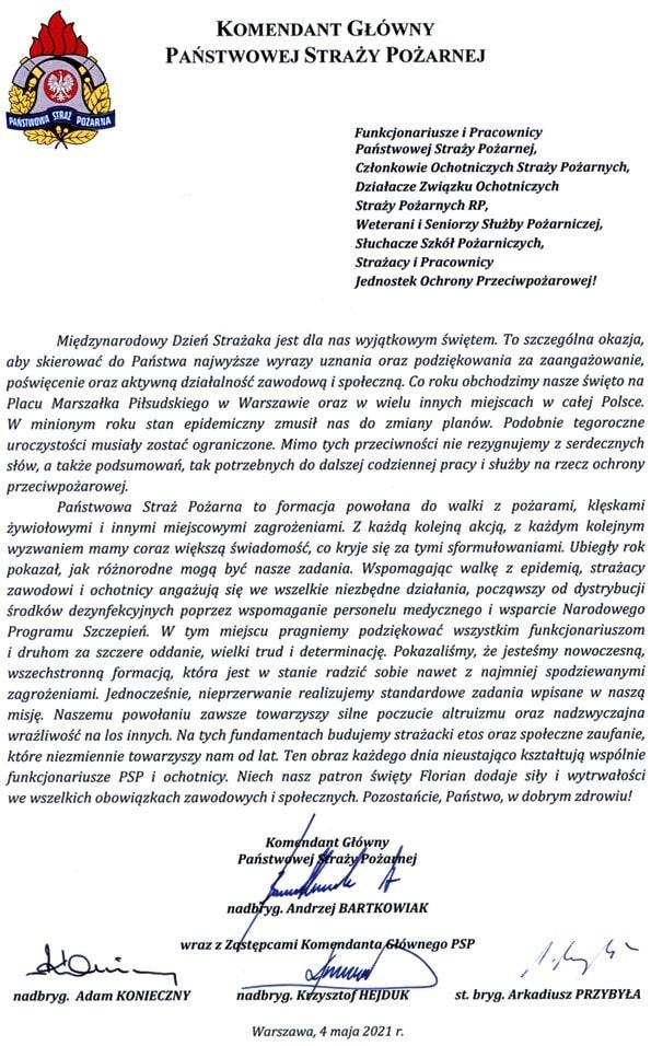 Życzenia Komendanta Głównego PSP