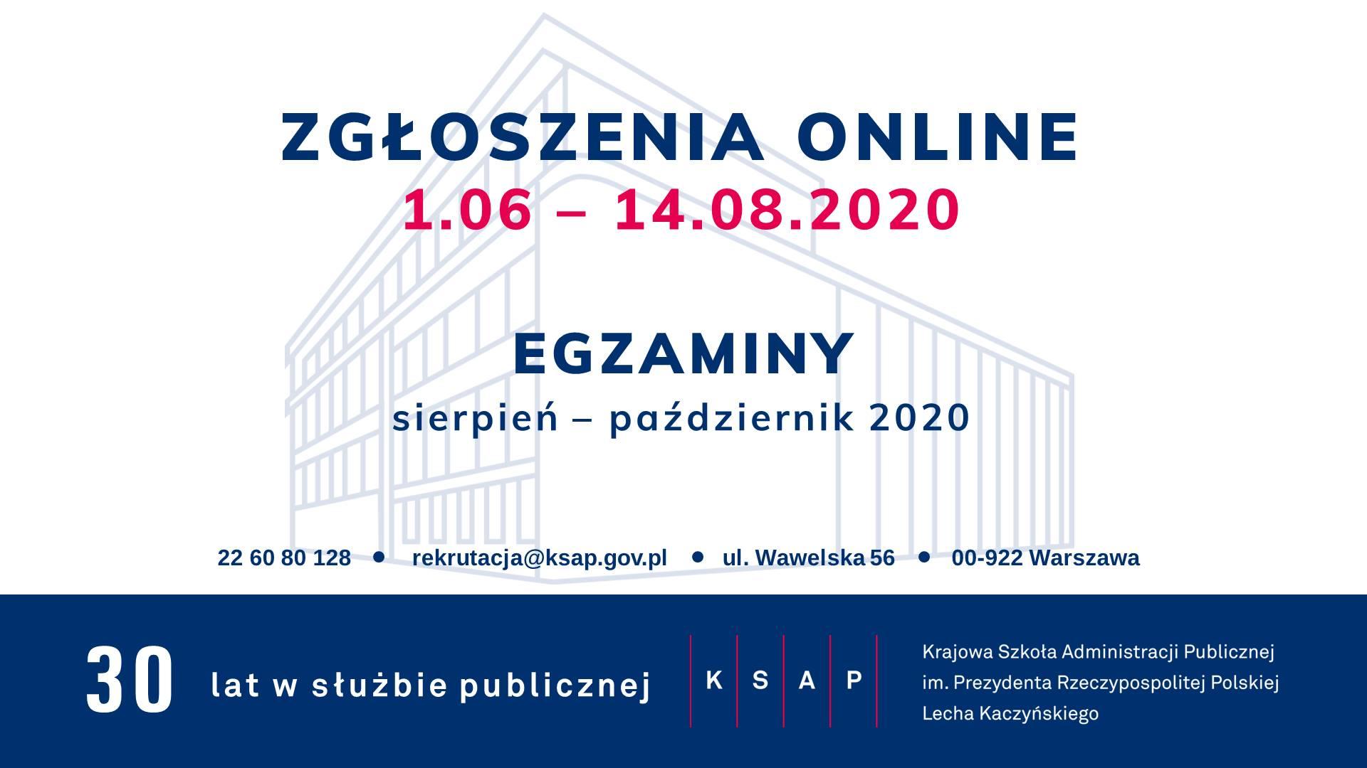 Ulotka informująca o rekrutacji do KSAP. Zgłoszenia do 14 sierpnia, egzaminy sierpień - październik