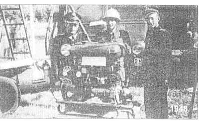 Prezentacja pozyskanej motopompy - rok 1948