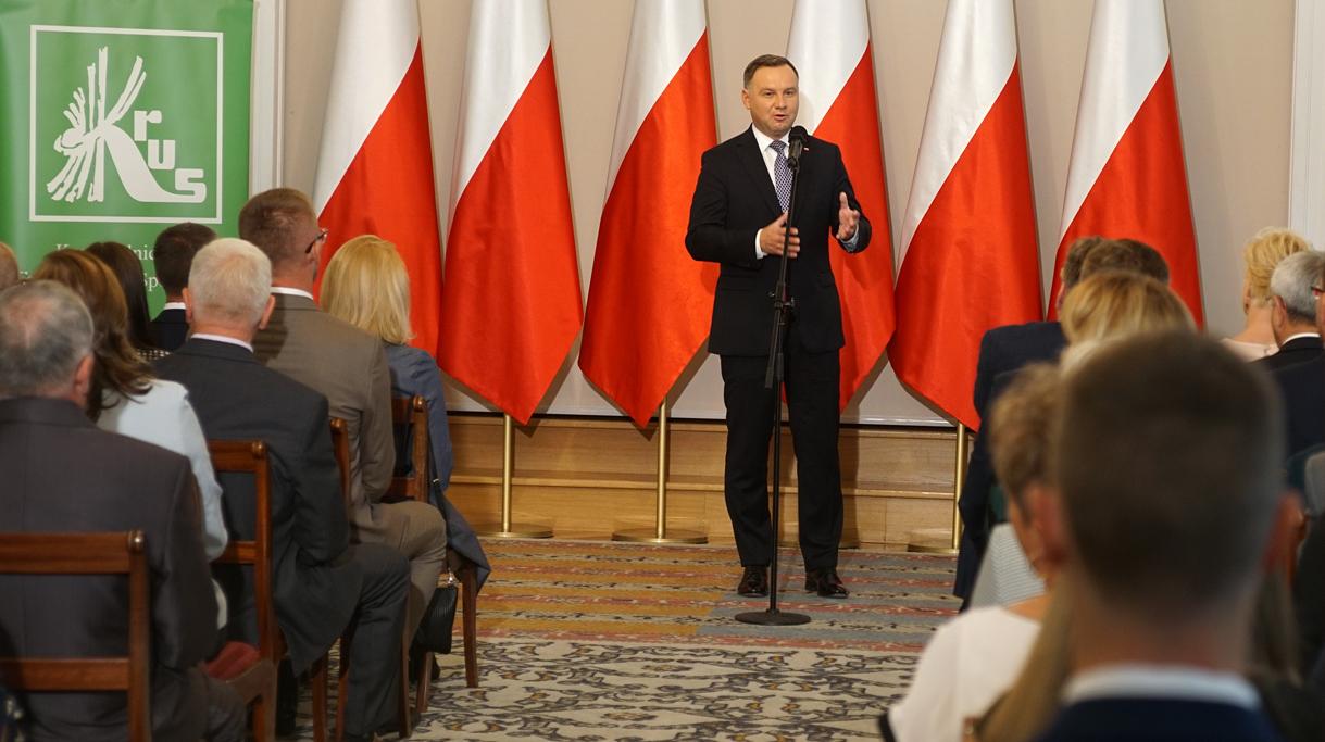 Prezydent A. Duda podczas przemówienia