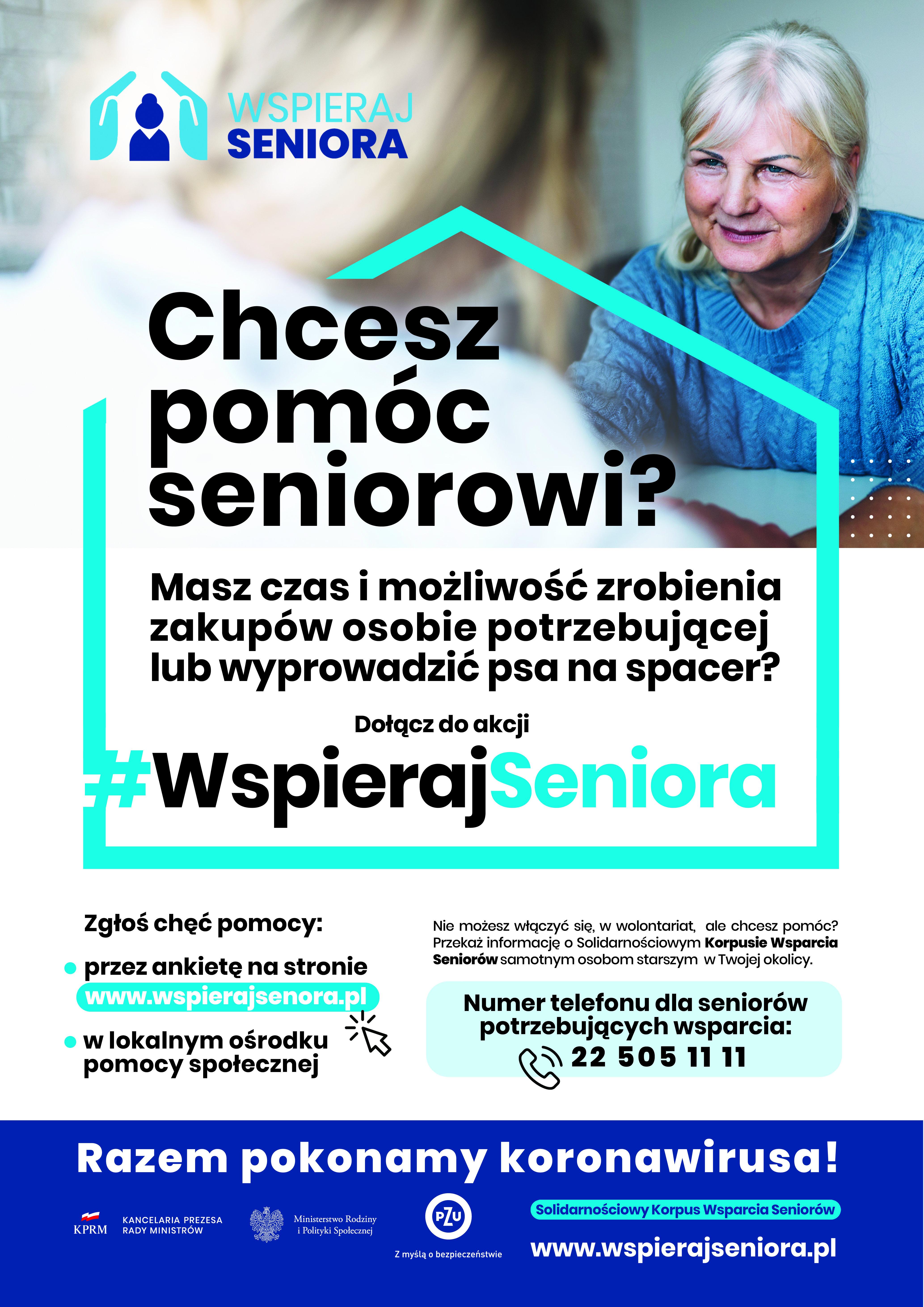 Wspieraj seniora - plakat dla Wolontariuszy