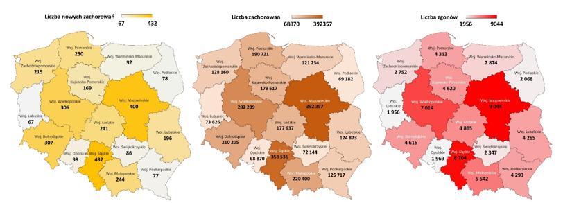 Liczba zachorowań w podziale na województwa – 14.05