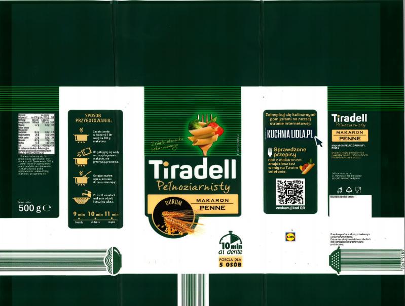 Makaron pełnoziarnisty Tiradell penne 500 g