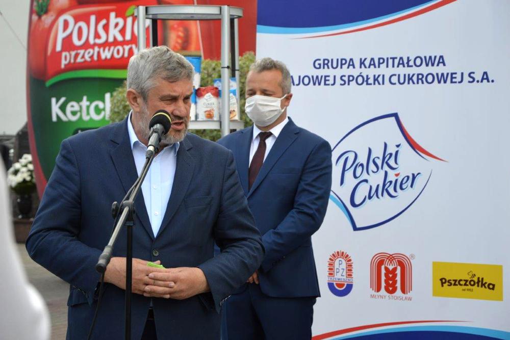 Minister J.K. Ardanowski podczas konferencji w Cukrowni Kruszwica