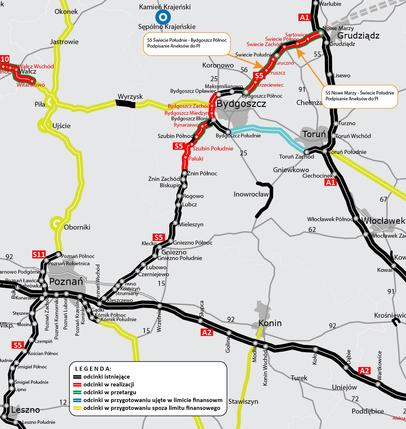 Odcinki drogi ekspresowej S5 Nowe Marzy – Świecie Południe (Dworzysko) oraz Świecie Południe – Bydgoszcz Północ (Aleksandrowo)