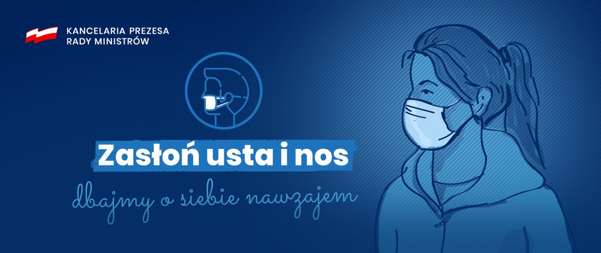 """Grafika przedstawiająca kobietę z maską na twarzy oraz napis """"Zasłoń usta i nos - dbajmy o siebie nawzajem"""""""