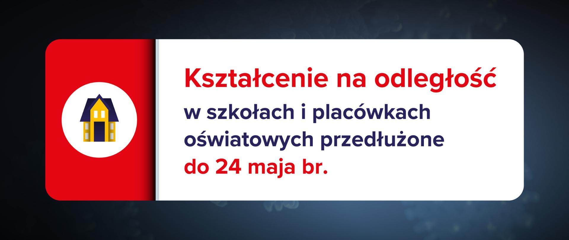 Grafika z tekstem: Kształcenie na odległość w szkołach i placówkach oświatowych przedłużone do 24 maja br.