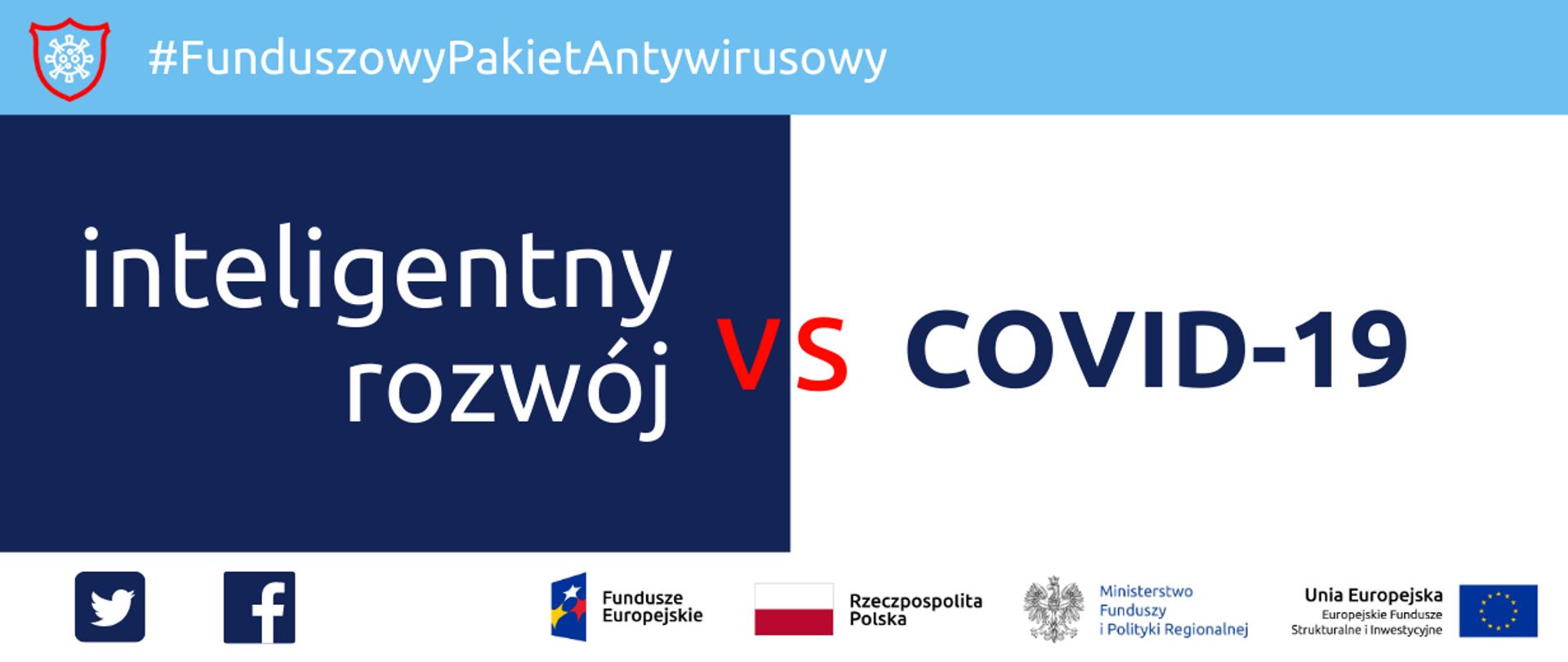 Napis: Funduszowy Pakiet Antykryzysowy: inteligentny rozwój versus covid-19. Na dole ikonki Facebooka oraz Twittera, logotypy Funduszy Europejskich i Ministerstwa Funduszy i Polityki Regionalnej, flaga Polski.