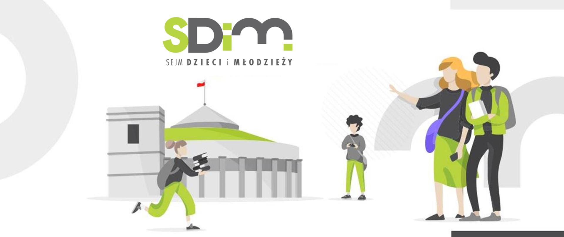 Grafika z budynkiem sejmu, ludźmi i logiem SDiM