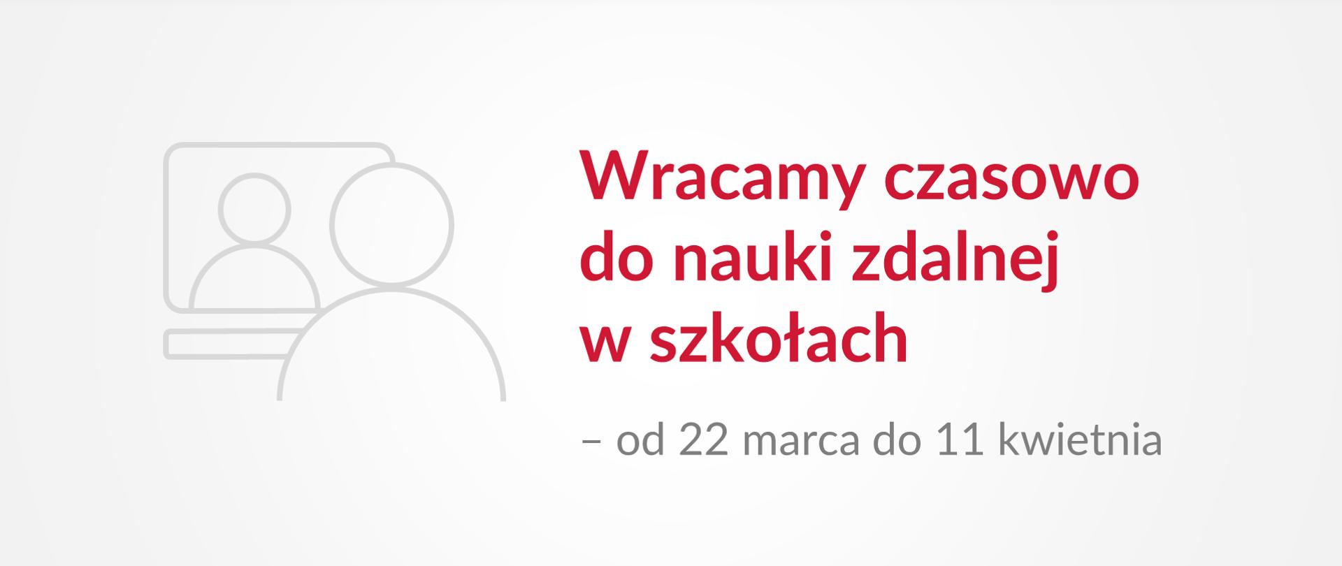 """Grafika z tekstem: """"Wracamy czasowo do nauki zdalnej w szkołach – od 22 marca do 11 kwietnia"""""""