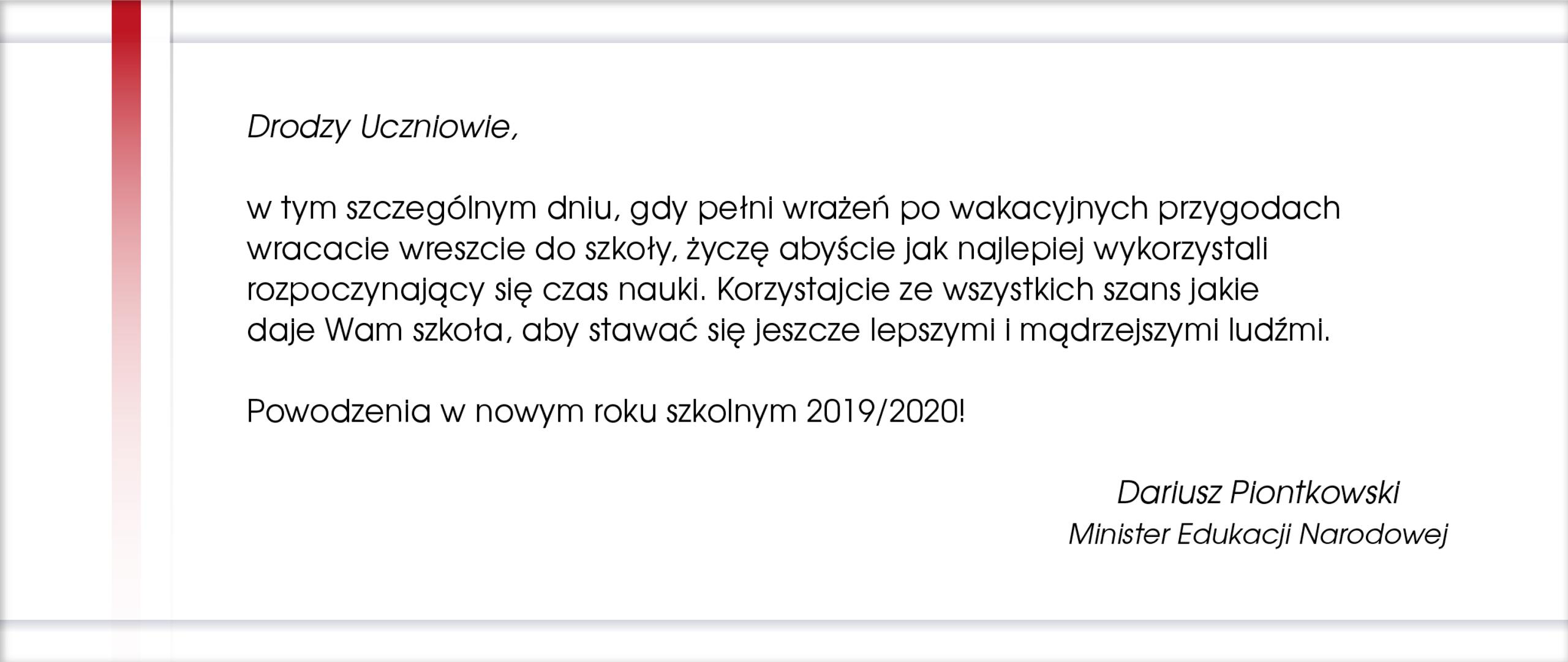 Życzenia Ministra Edukacji Narodowej na rozpoczynający się rok szkolny 2019/2020