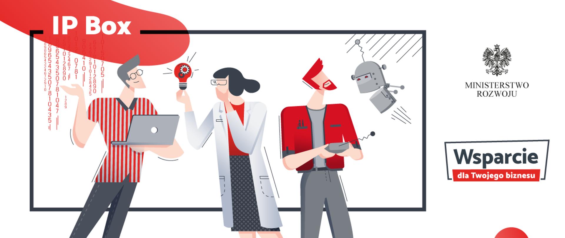 Grafika przedstawia trzy stojące postacie: mężczyznę z laptopem, kobietę w fartuchu laboratoryjnym i okularach, trzymającą żarówkę, i mężczyznę ze zdalnie sterowanym robotem. Na górze napis IP Box.