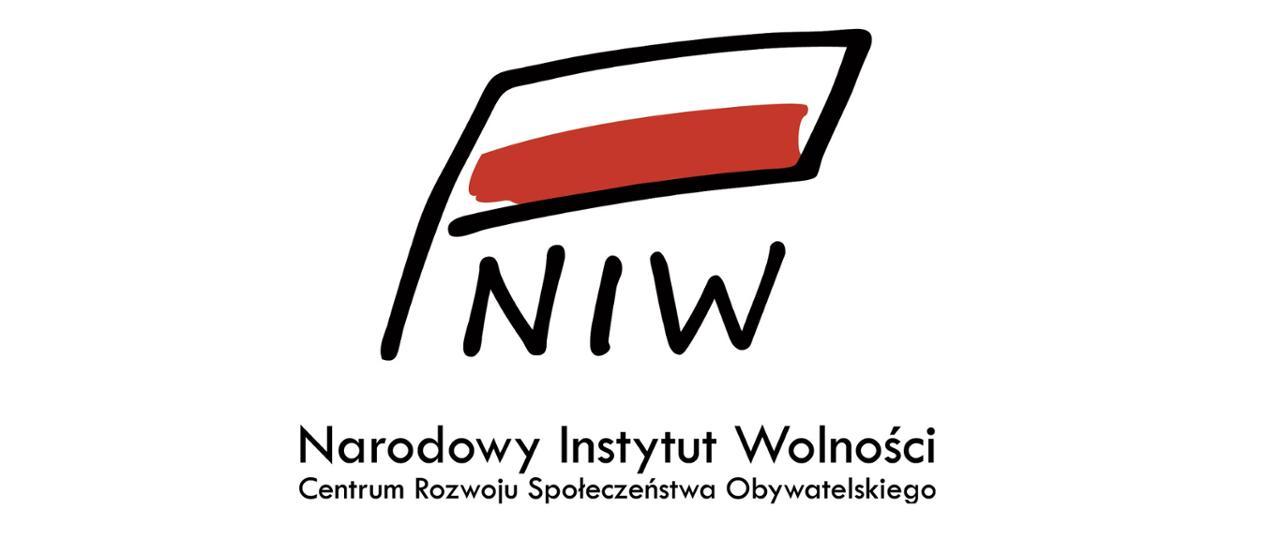 Grafika przedstawiając biało-czerwoną flagę pod którą znajduje się skrót NIW i napis Narodowy Instytut Wolności Centrum Rozwoju Społeczeństwa Obywatelskiego.