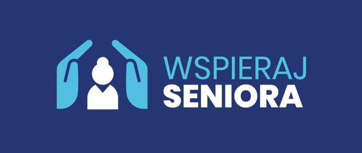 na granatowym tle jasno niebieski napis wspieraj i biały seniora po lewej stronie dwie ręce obejmujące postać osoby starszej