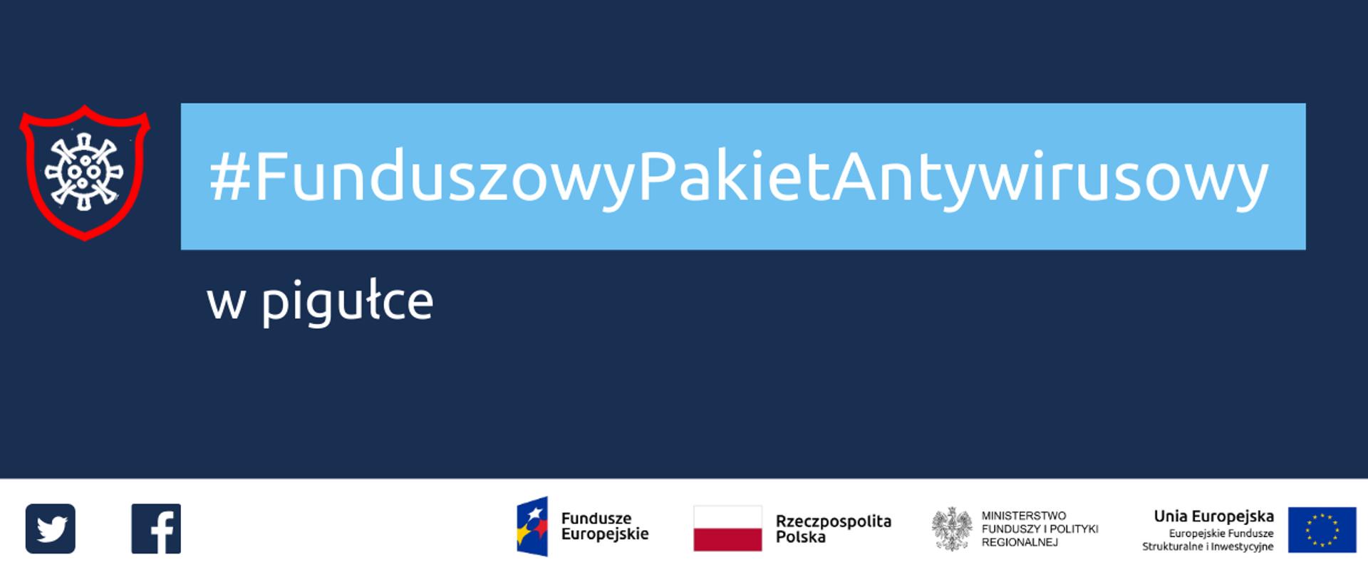 Napis: Funduszowy Pakiet Antywirusowy w pigułce. Na dole ikonki Facebooka oraz Twittera, logotypy Funduszy Europejskich i Ministerstwa Funduszy i Polityki Regionalnej, flaga Polski.