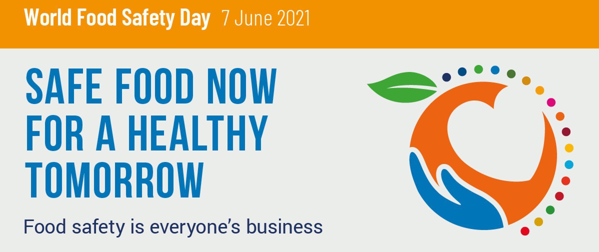Grafika - z prawej strony graficznie przestawiona kula ziemska z dłonią, która ją podtrzymuje. Na górze kuli ziemskiej jest listek, połowa kuli jest otoczona kropkami we wszystkich kolorach. Na górze hasło: World Food Safety Day 7 JUne 2021. W drugi wersie: Safe food now for a healthy tommorow. Food safety is everyone's business. W trzecim wersie są logotypy: Food and Agriculture Organization of the United Nations, World Health Organization, Sustainable Development Goals.