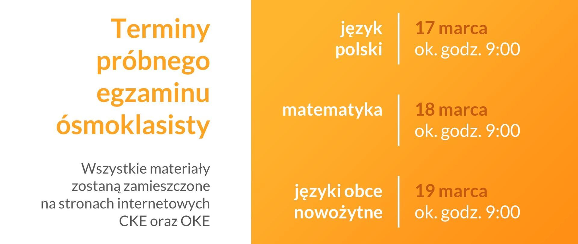 Plansza informacyjna w kolorach białym i pomarańczowym. Z lewej strony napis: Terminy próbnego egzaminu ósmoklasisty. Z prawej strony grafiki wypisane terminy poszczególnych egzaminów.