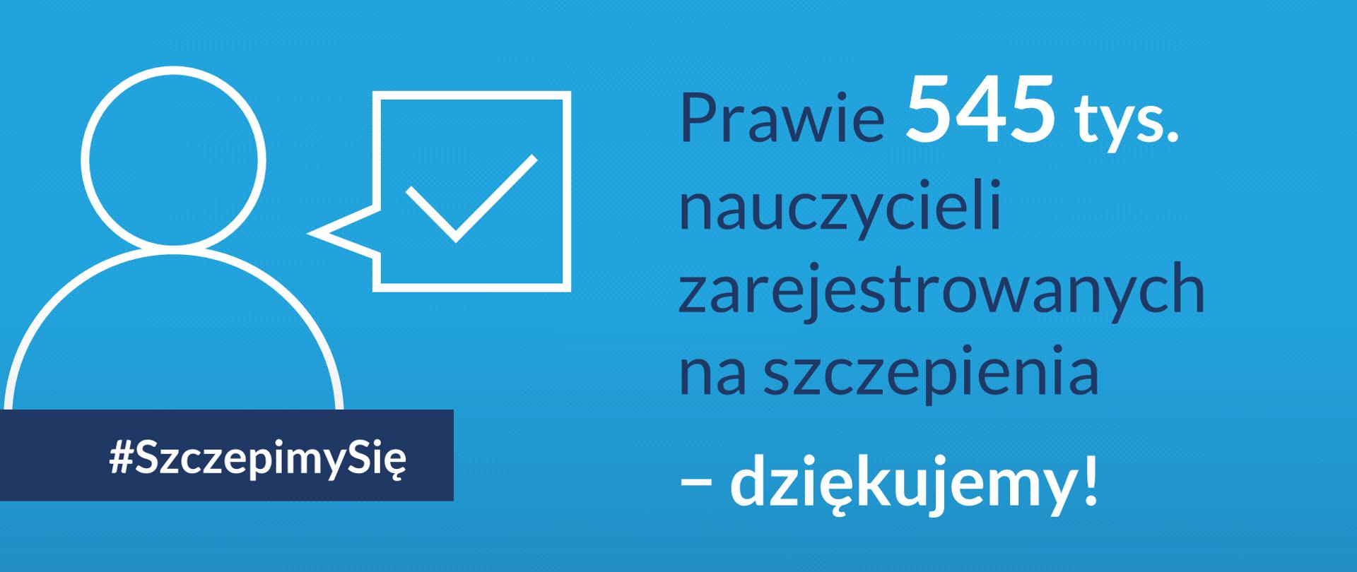"""Grafika z tekstem """"Prawie 545 tys. nauczycieli zarejestrowanych na szczepienia − dziękujemy!"""""""