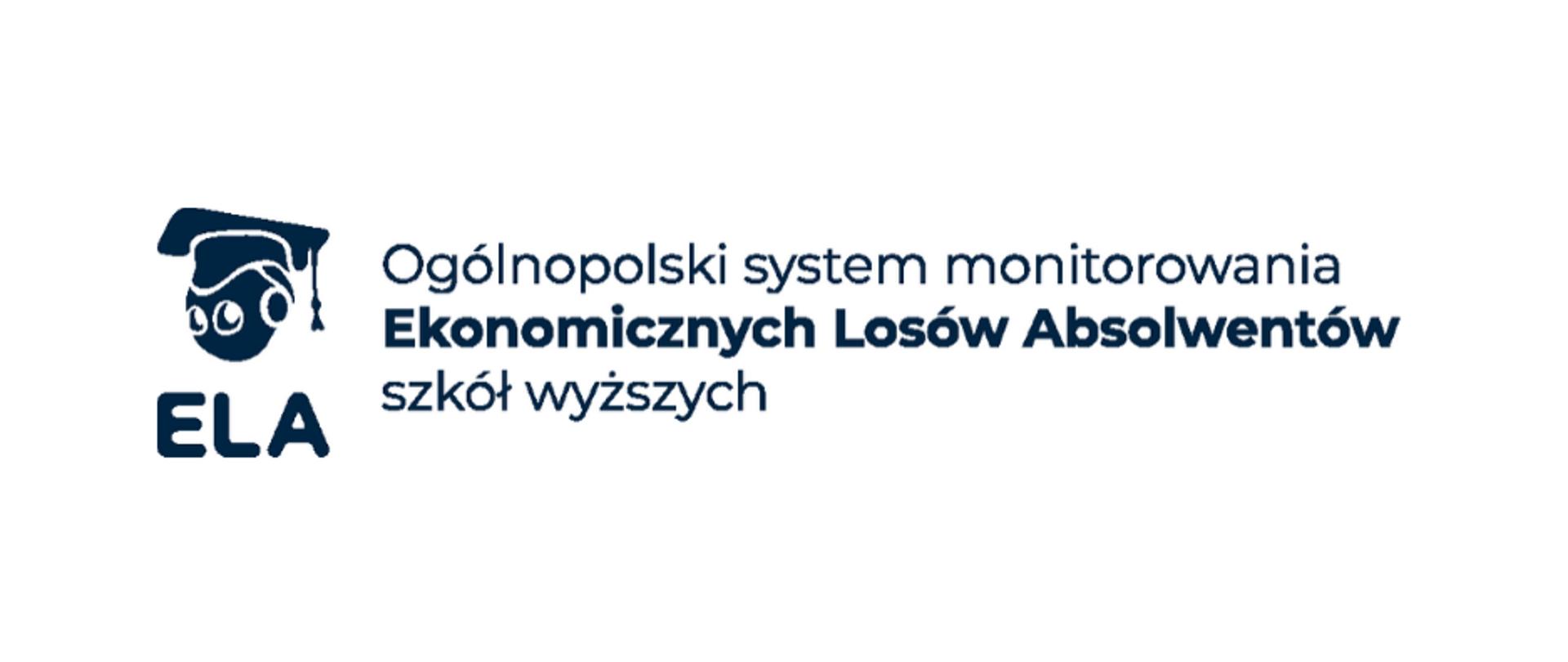 Logo ELA - napis ogólnopolski system monitorowania Ekonomicznych Losów Absolwentów szkół wyższych
