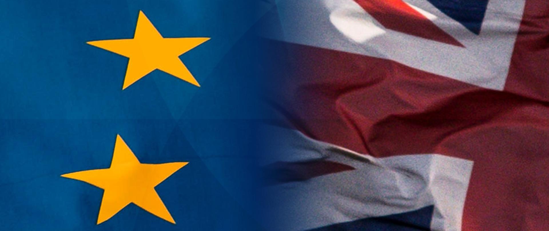 flagi UE i Wielkiej Brytanii