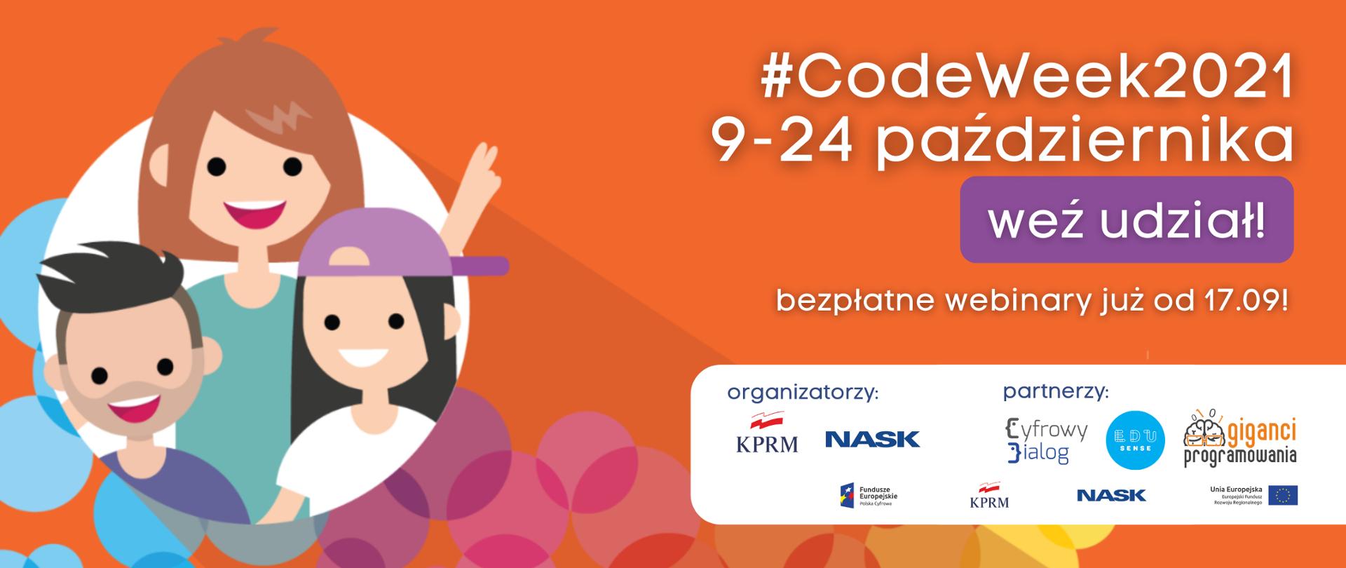 Europejski Tydzień Kodowania CodeWeek – zapraszamy do udziału! Grafika informacyjna na pomarańczowym tle z nazwą wydarzenia i jego terminem oraz loga organizatorów