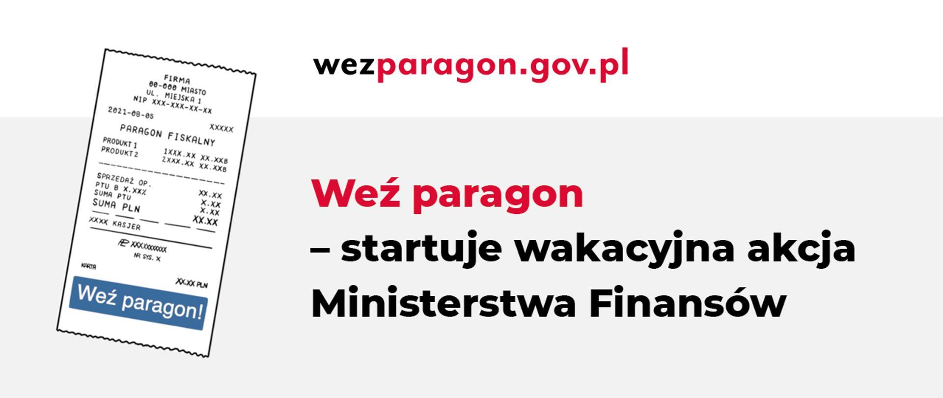 Po lewej stronie paragon fiskalny a po prawej napis startuje wakacyjna akcja Ministerstwa Fiansnów