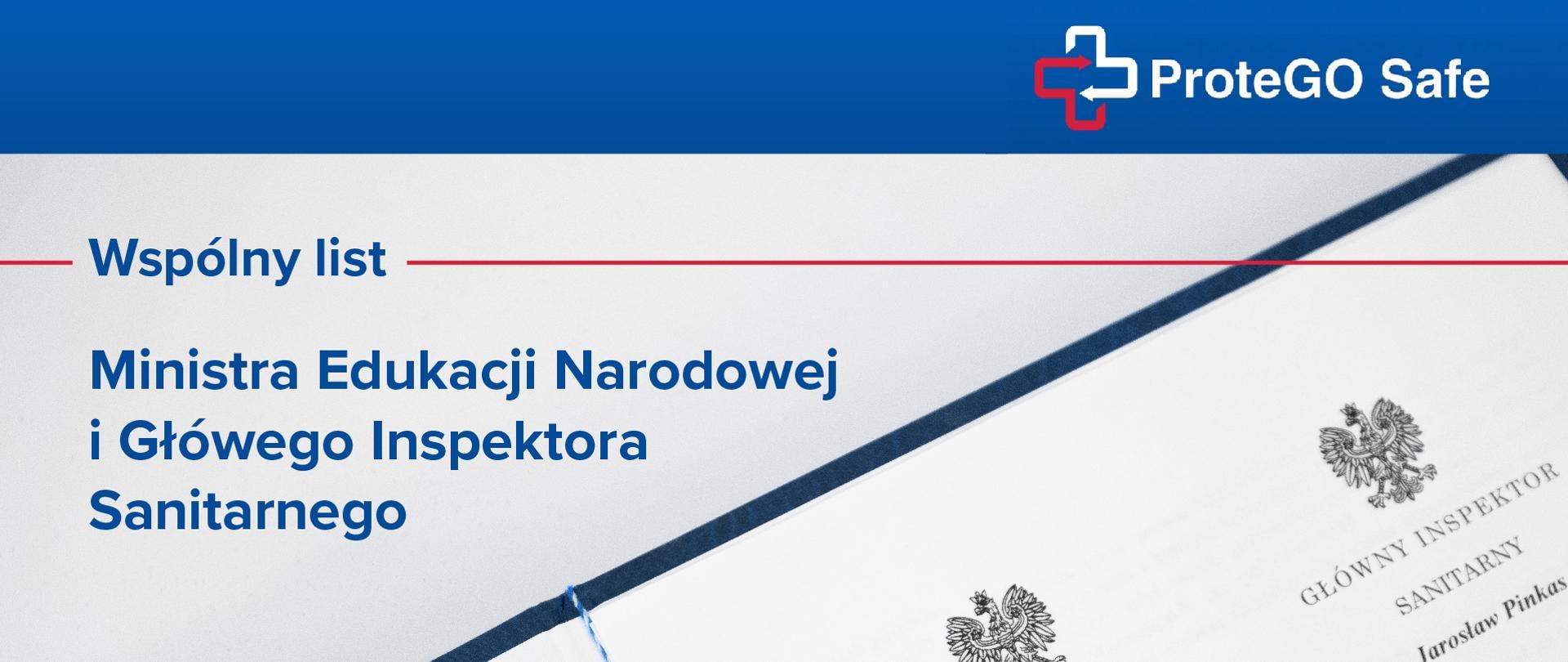 """Grafika z tekstem """"ProteGO Safe. Wspólny list Ministra Edukacji Narodowej i Głównego Inspektora Sanitarnego"""""""