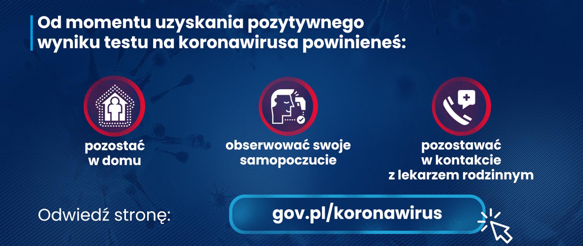Granatowa grafika z ikonami i tekstem informującym o prawidłowym zachowaniu po uzyskaniu pozytywnego wyniku testu na koronawirusa.Zachęta do odwiedzenia strony gov.pl/koronawirus