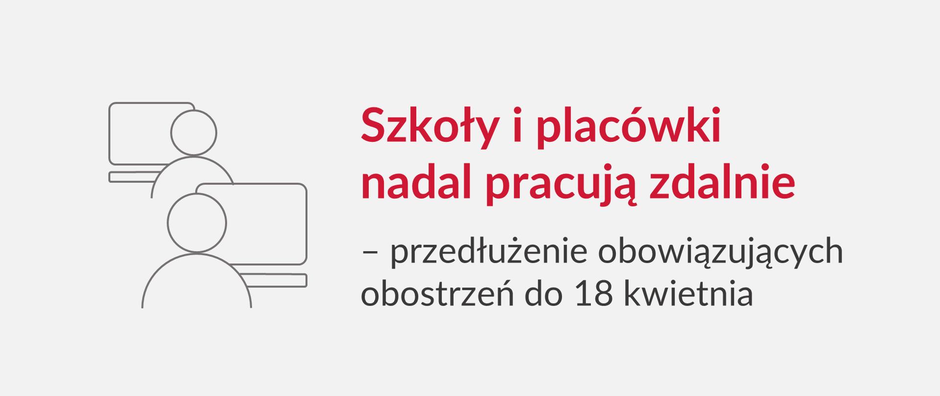 """Grafika z tekstem: """"Szkoły i placówki nadal pracują zdalnie – przedłużenie obowiązujących obostrzeń do 18 kwietnia"""""""