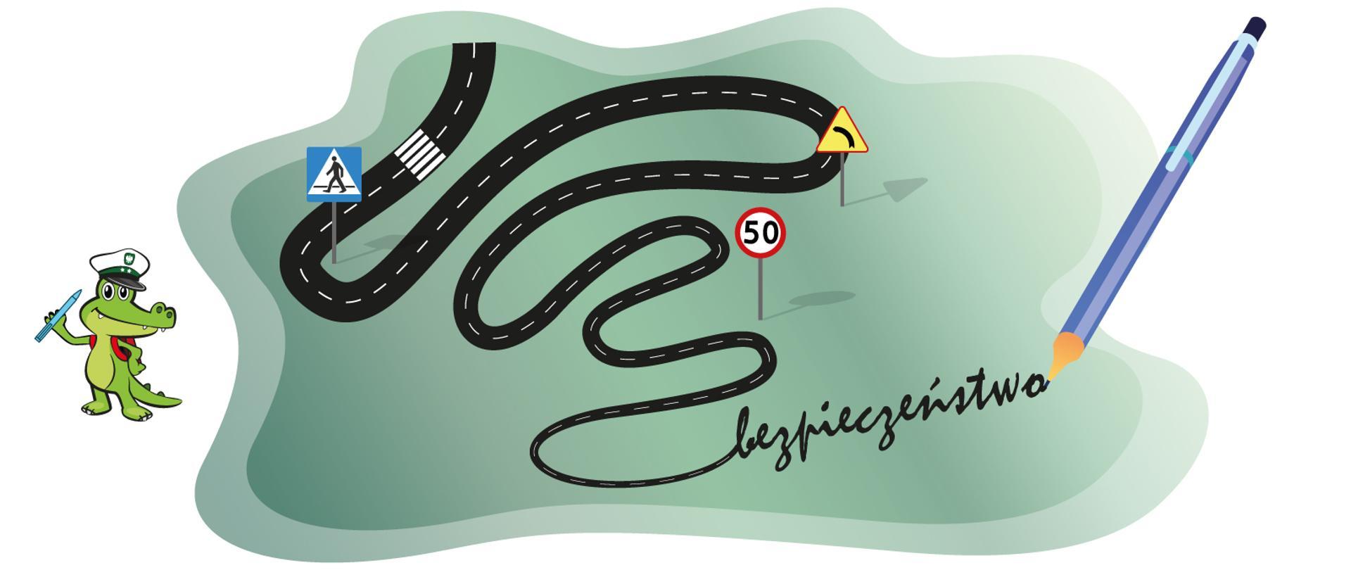 Po lewej stronie krokodylek Tirek - maskotka Głównej Inspekcji Transportu Drogowego. W środku szara grafika w kształcie chmury przedstawiająca czarną jezdnię ze znakami drogowymi. Na końcu jezdni znajduje się długopis i napis bezpieczeństwo