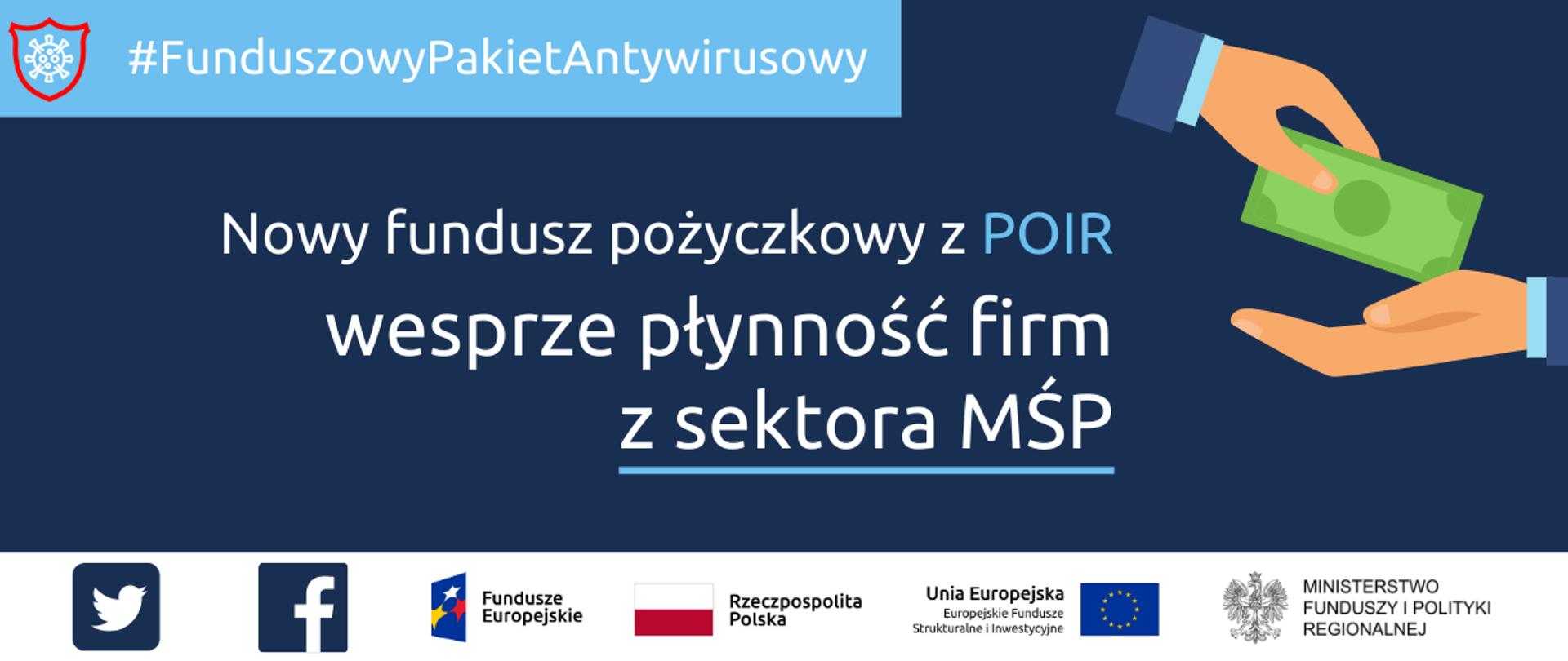 Tekst: Funduszowy Pakiet Antywirusowy. Nowy fundusz pożyczkowy z POIR wesprze płynność firm z sektora MŚP. Po lewej stronie grafika przedstawiająca dwie dłonie podające sobie banknot. Na dole unijne logotypy i flaga Polski