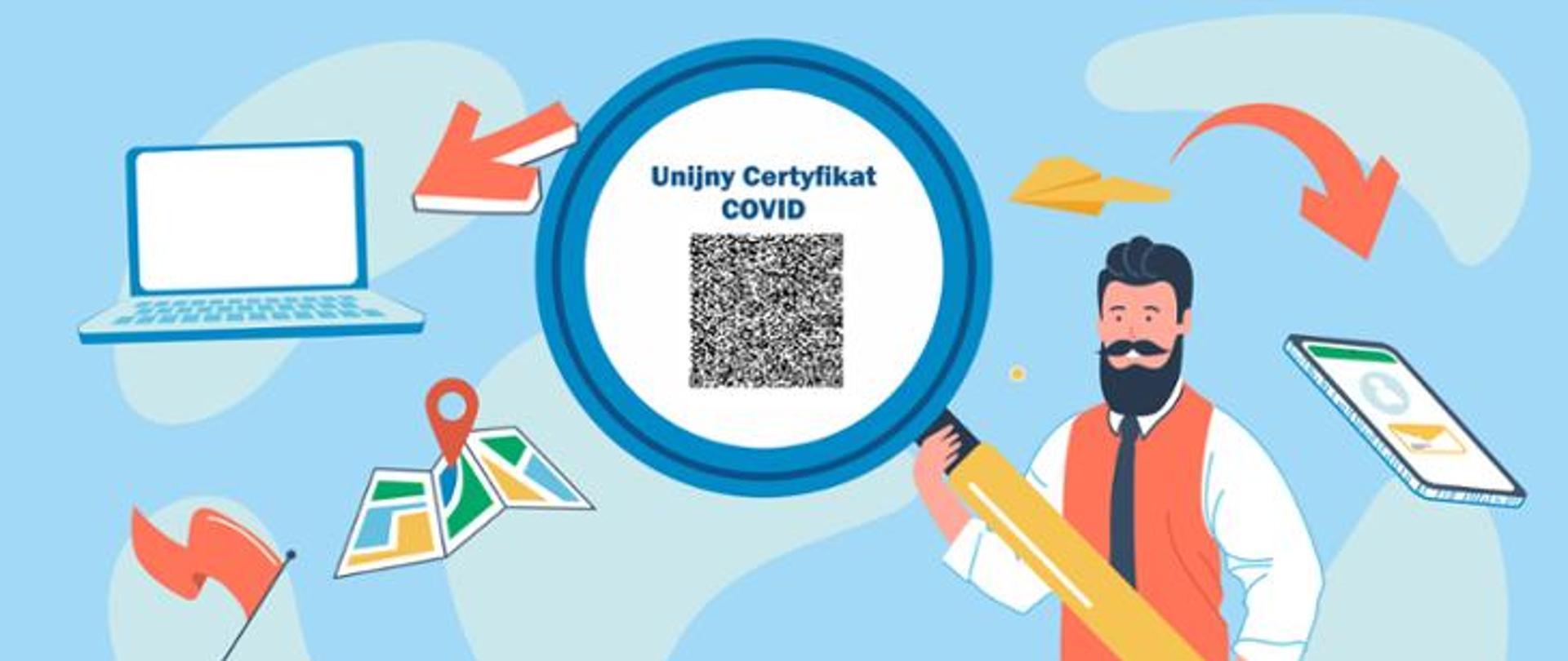 Grafika: w środku koło z niebieskim obramowaniem z kodem Unijny Certyfikat Covid. Po boku ikona uśmiechniętego mężczyzny z brodą, ubranego w białą koszulę, pomarańczową kamizelkę i czarny krawat, oraz ikony smartfona, laptopa, mapy.